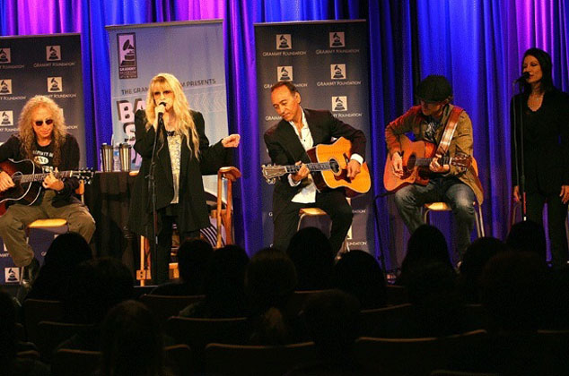 Waddy Wachtel, Steve Nicks, Carlos Rios, Michael Grimm, Sharon Celani Grammy Museum Benefit Concert 10/19/11 (Photo by Maury Phillips)