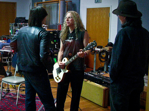 Jackson Browne, Waddy Wachtel, John Cowsill recording Susan Cowsill's album