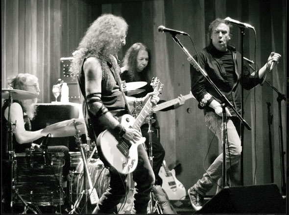 Phil Jones, Waddy Wachtel, Rick Rosas, Jamie Savko (photo by Robert Bruns)