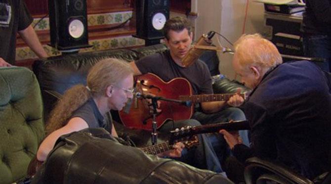 Waddy Wachtel, Lyle Lovett, Peter Asher recording