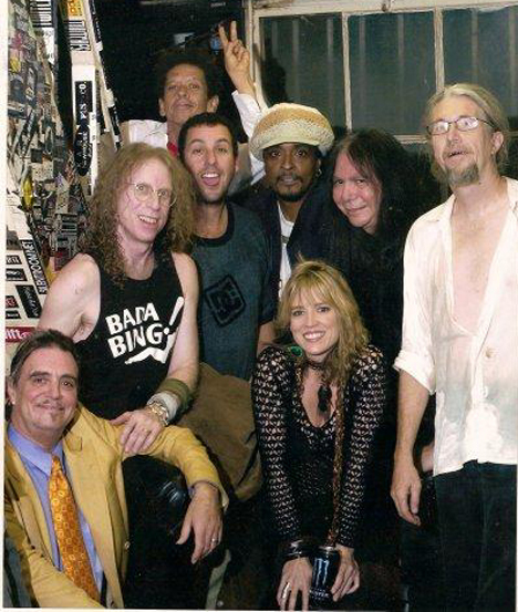 Terry Reid, Waddy Wachtel, Blondie Chaplin, Adam Sandler, Bernard Fowler, Stacy Michelle, Rick Rosas, Phil Jones backstage (photo courtesy of Jason Klein)
