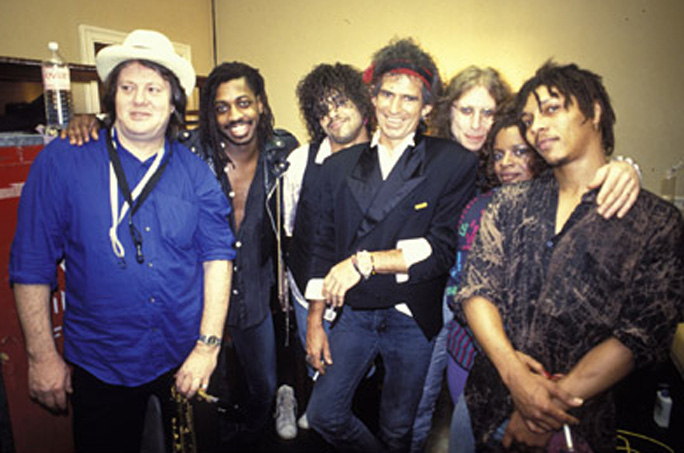 Bobby Keys, Steve Jordan, Charley Drayton, Keith Richards, Waddy Wachtel, Sarah Dash, Ivan Neville 1988 (Photo By:  Denis O'Regan)