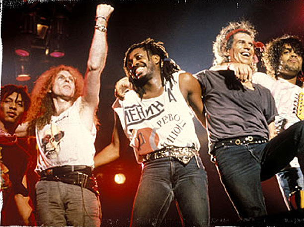 Ivan Neville, Waddy Wachtel, Steve Jordan, Keith Richards, Charley Drayton 1988 (Photo by: Paul Natkin)