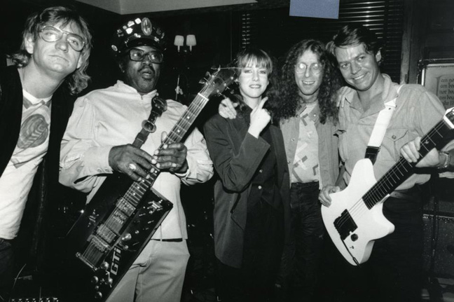 Joe Walsh, Bo Diddley, Laraine Newman, Waddy Wachtel and Robert Palmer at a performance at The Hard Rock Cafe, New York 1985