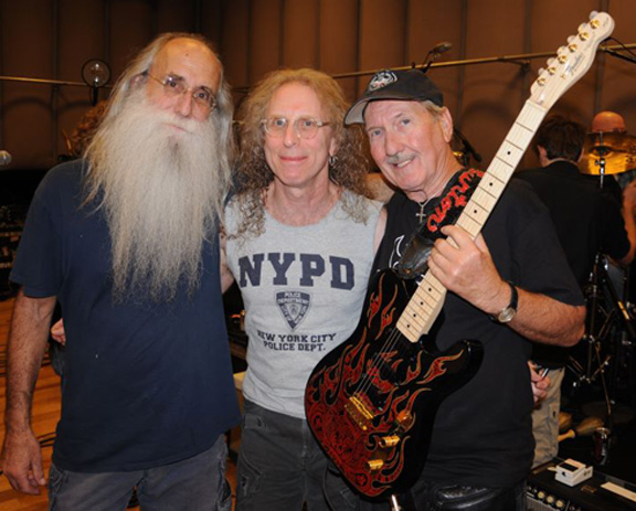 Lee Sklar, Waddy Wachtel, James Burton at rehearsal for Listen To Me Buddy Holly Tribute Concert 9/11 (photo by John Rowlands)