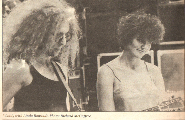 Waddy Wachtel, Linda Ronstadt 1980 (photo used in Bam Magazine article