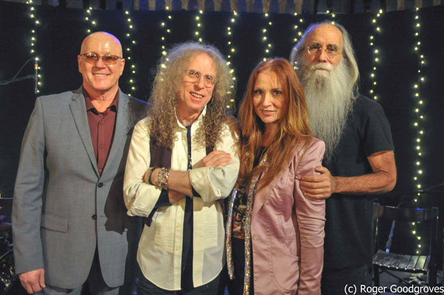 Russ Kunkel, Waddy Wachtel, Judith Owen, Leland Sklar - on Vintage TV in London 3/10/14 (Photo by Roger Goodgroves)