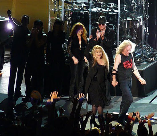 Carlos Rios, Taku Hirano, Sharon Celani, Lori Nicks, Ricky Peterson, Stevie Nicks, Waddy Wachtel 8/4/10 Santa Barbara - photo by L. Paul Mann