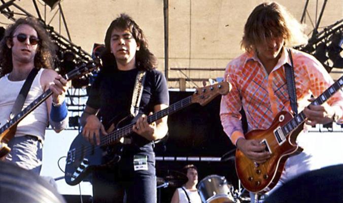 Waddy Wachtel, Rick Rosas, Joe Walsh 1985 Australia (Photo by Ian Greene)