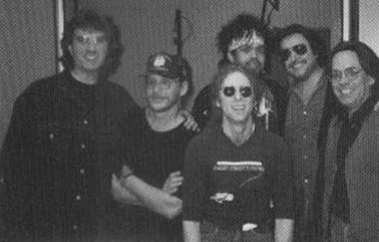 Jorge Calderon, Warren Zevon, Waddy Wachtel, Charley Drayton, Jim Keltner, Jeff Porcaro - at a recording session for Mr. Bad Example